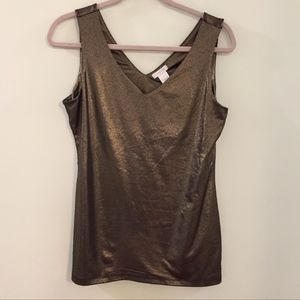CACHE metallic gold sleeveless V-neck top blouse